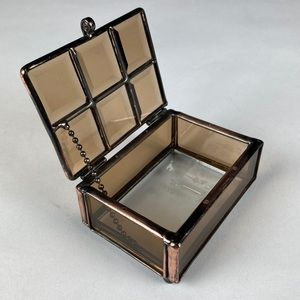JEWELRY BOX Faceted Brown Glass Copper Metal